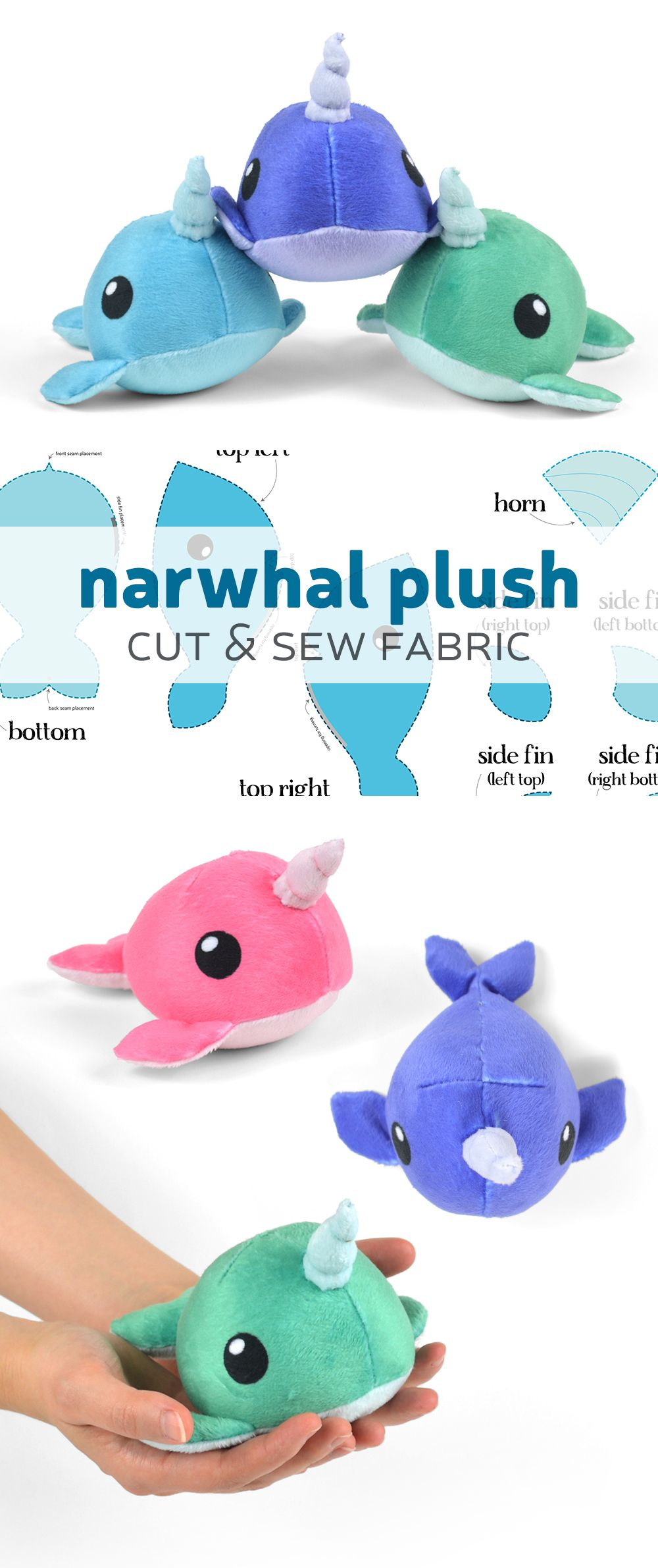 Cute tiny narwhal plush fabric kit from Spoonflower
