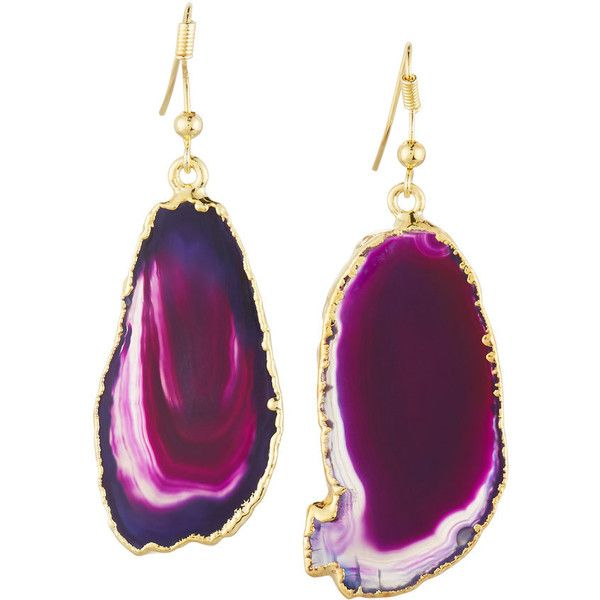 Nakamol 14k Gold-Plated Organic Agate Drop Earrings featuring polyvore women's fashion jewelry earrings no color agate jewelry 14 karat gold earrings bezel set earrings 14k gold plated earrings handcrafted jewelry