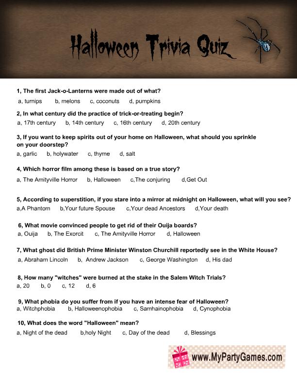Free Printable Halloween Trivia Quiz For Adults 3rd Halloween Bash