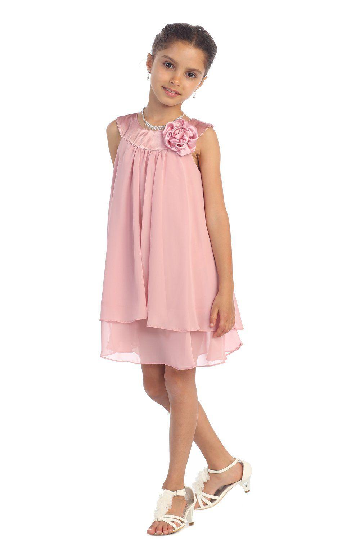Amazon.com: Satén Escote Bib & gasa A-línea de Flor vestido de niña ...
