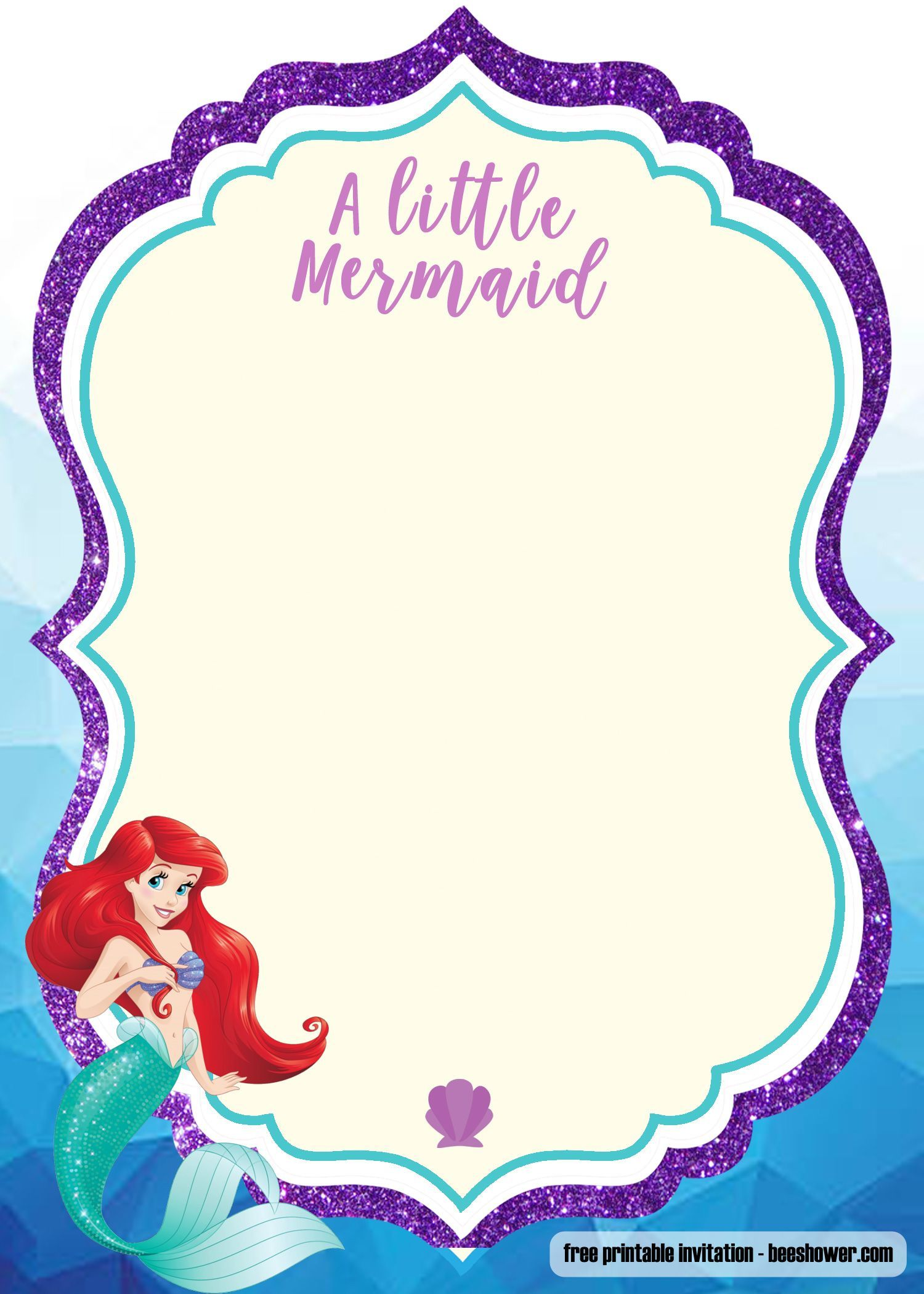 photo about Printable Mermaid Baby Shower Invitations referred to as No cost Printable Mermaid Little one Shower Invitation No cost