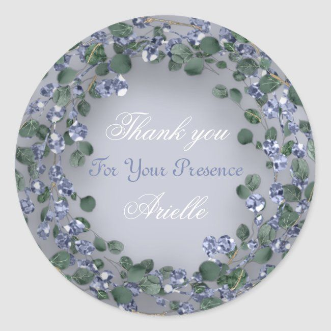 Photo of Eucalyptus Wreath Wedding Bride Blue Bride Classic Round Sticker | Zazzle.com