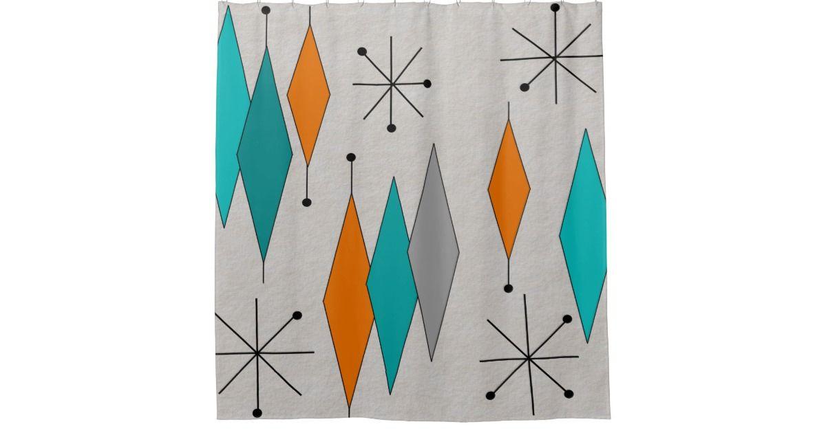 Mid Century Modern Diamonds Teal Shower Curtain Zazzle Com
