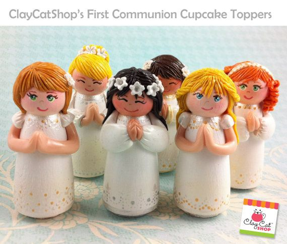 First Communion CUPCAKE Topper In stock Spring Sale by ClayCat, $25.00