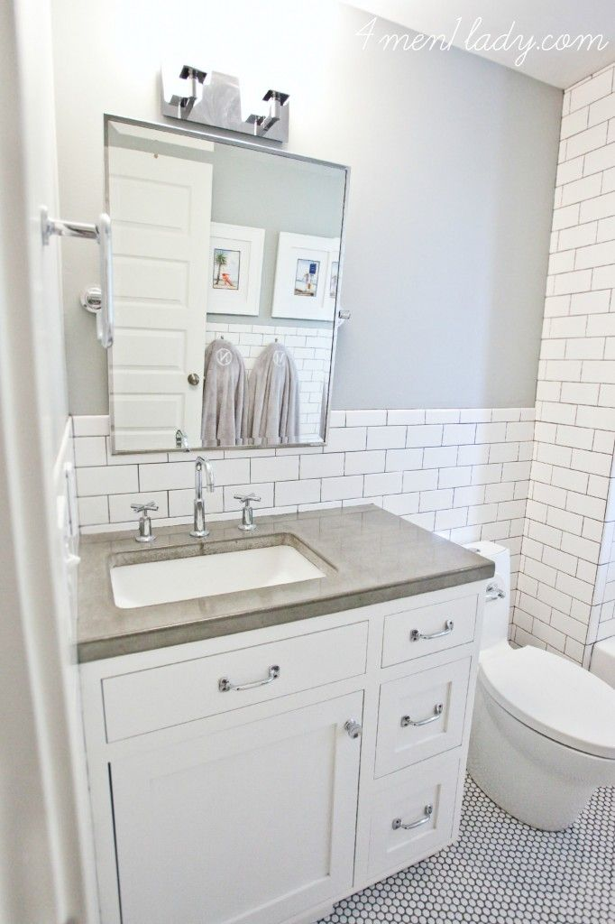 Reviewing Our Concrete Counters 4 Men 1 Lady Penny Tiles Bathroom Bathrooms Remodel Tile Bathroom