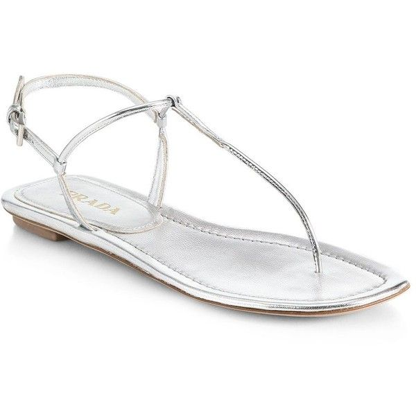 573d436a4 Prada Metallic Leather Thong Sandals ( 156) ❤ liked on Polyvore featuring  shoes