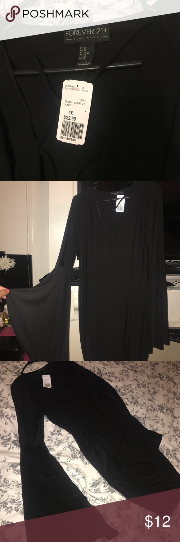 Lace-up bell sleeves dress Black lace-up dress with bell sleeves. Forever 21 Dresses Long Sleeve