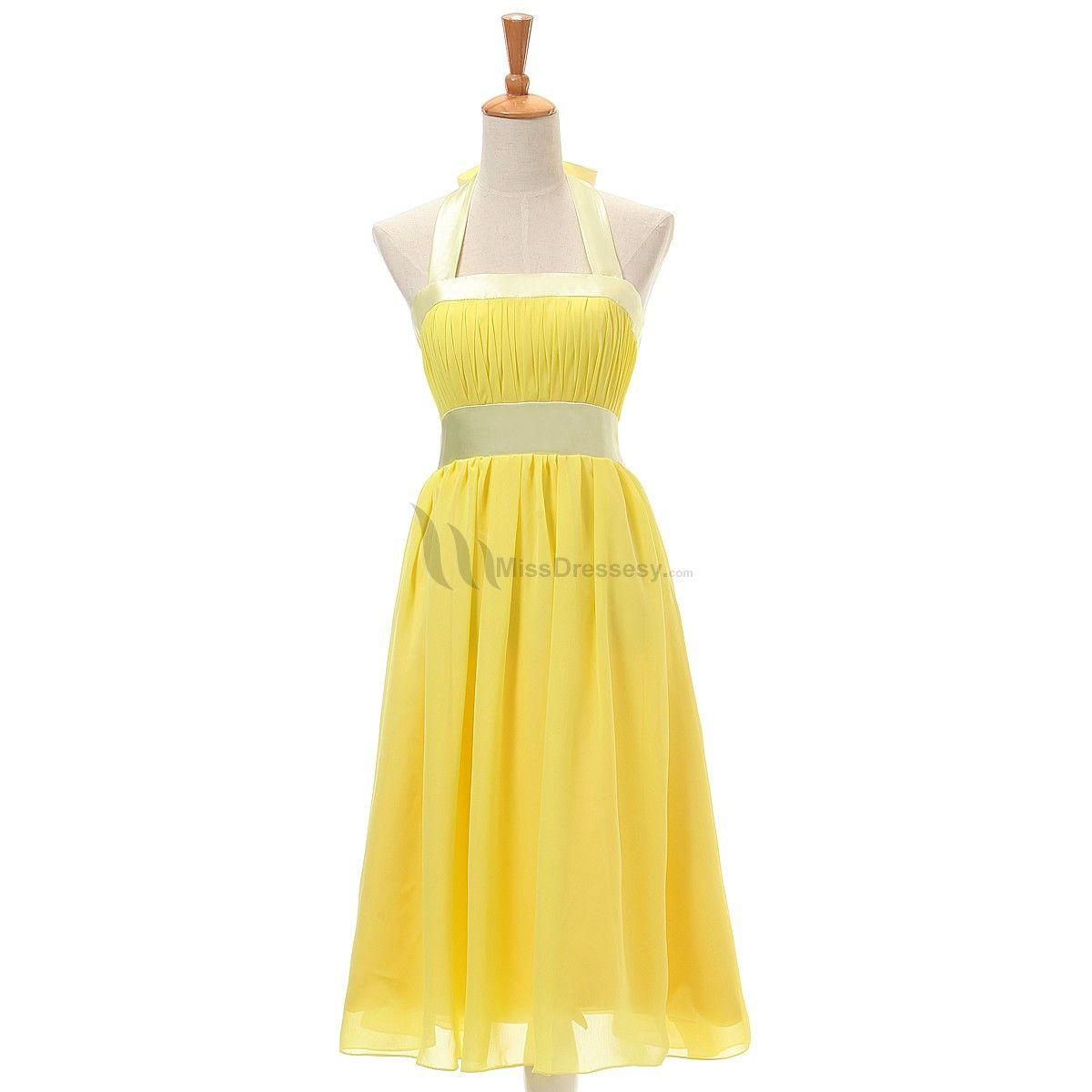 Buy cheap sweet halter daffodile yellow cheap chiffon prom