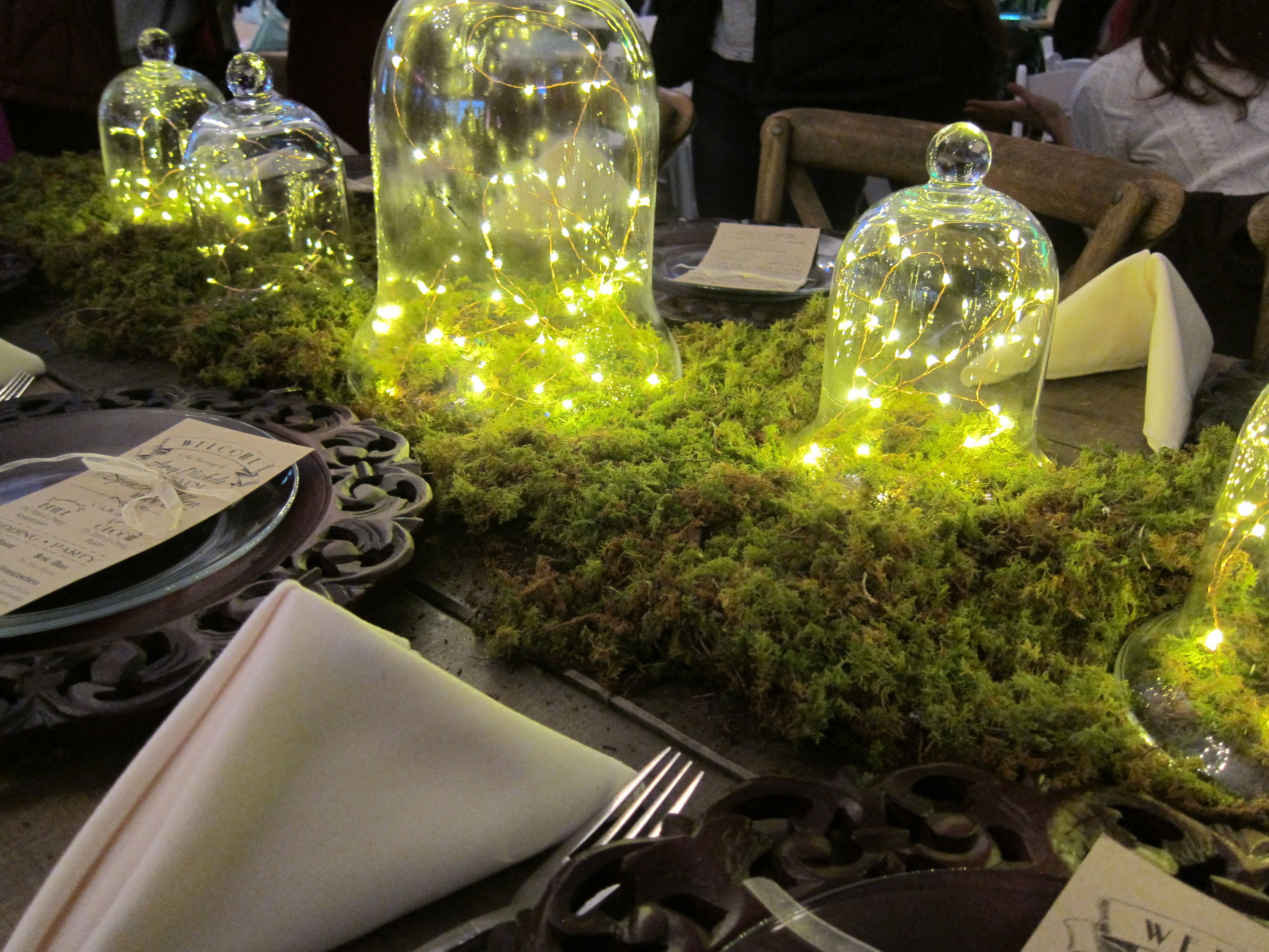 Hunter Valley Farms Knoxville Bridal Show Cloche With String Lights Centerpiece Wedding