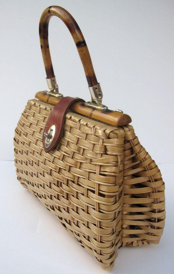 Basket Bag Vintage Wicker Straw