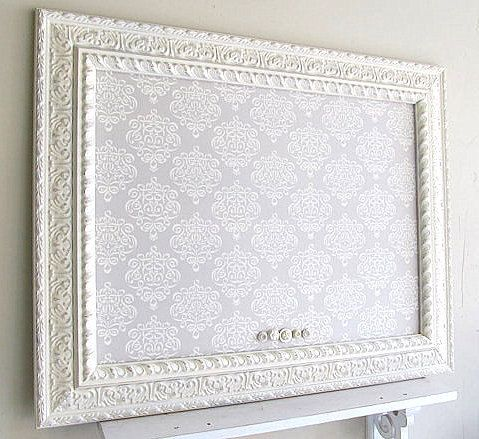 MEMO BOARD Fabric Magnetic Board Pinboard Ivory Grey Distressed Home Office  Decor French Country Decor Bulletin