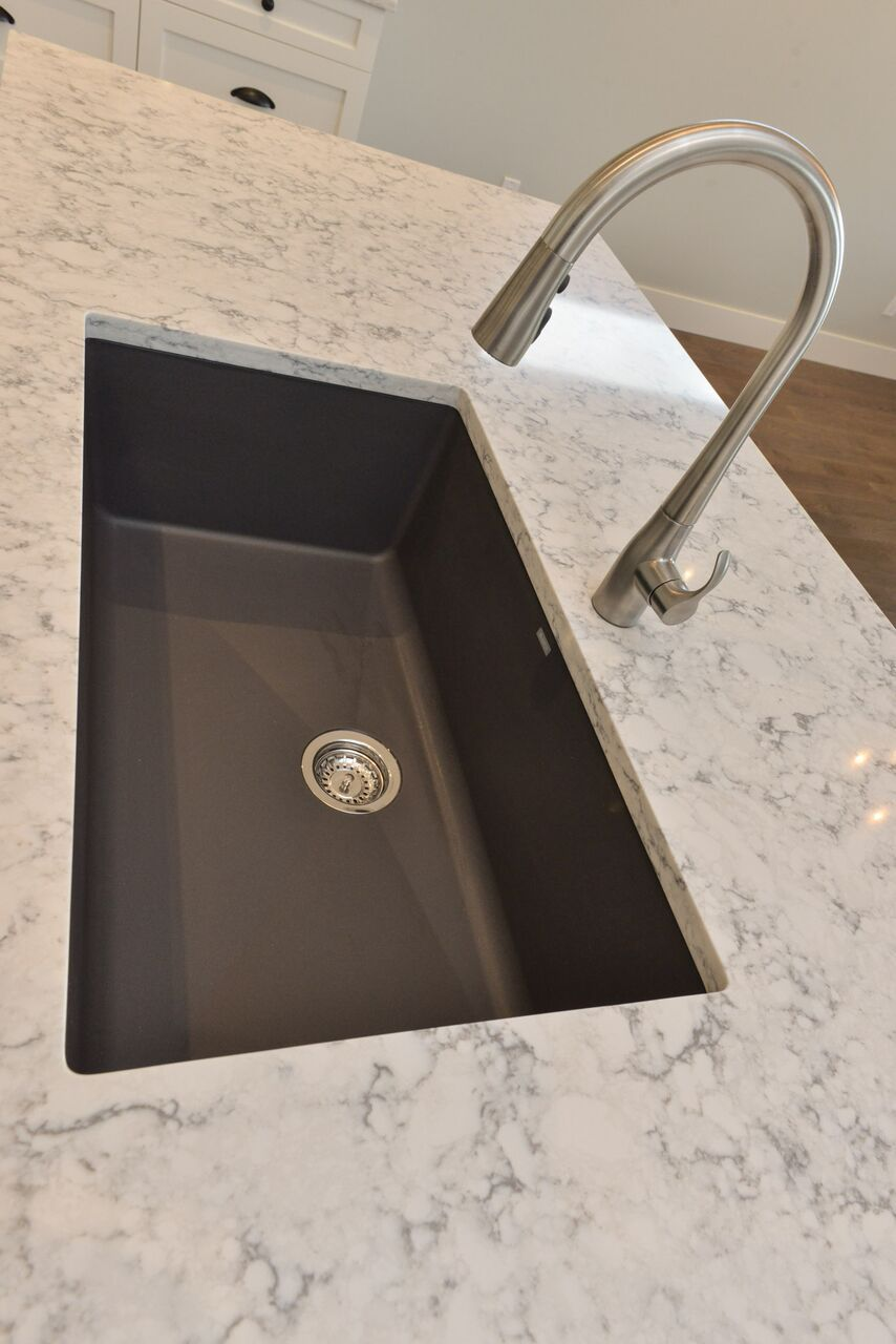blanco silgranite kitchen sink in cidner with kohler simplice faucet and quartz counters in rococo - Kohler Simplice