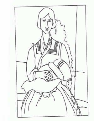 Masterpiece Coloring Page Free printable Amadeo Modigliani