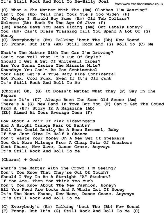Country Music Song Its Still Rock And Roll To Me Billy Joel Lyrics