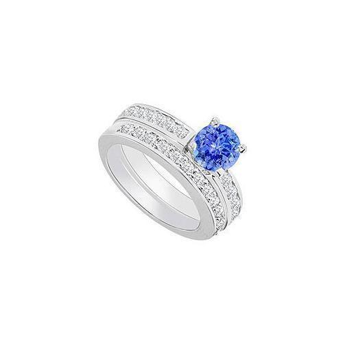 14K White Gold : Tanzanite and Diamond Engagement Ring with Wedding Band Set 1.30 CT TGW