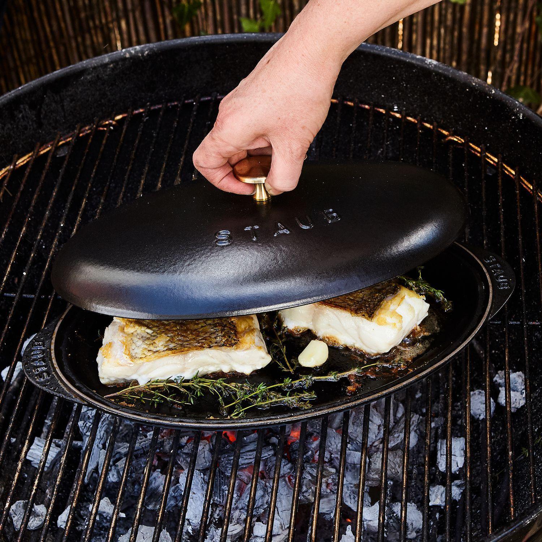 Staub Cast Iron Covered Fish Pan Fish Plate Pan Staub