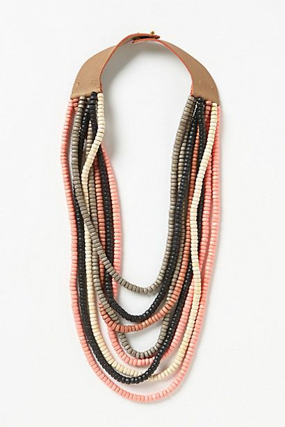 Sedona Multi-Strand  Anthropologie.com Wood, leather, brass 28 inches long, 4 inches wide $118