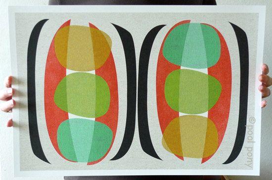Lieblich Mid Century Design, Modern Art, Print, Pea Pods, 12 X 18 Inch, Giclée  Print. Mitte Jahrhundert ...