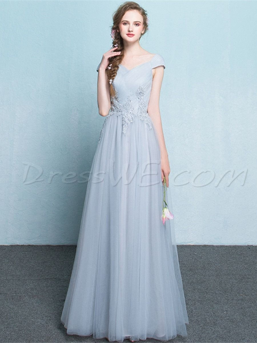 $122.09 Dresswe.com SUPPLIES Pretty A Line Cap Sleeve Applique Lace ...