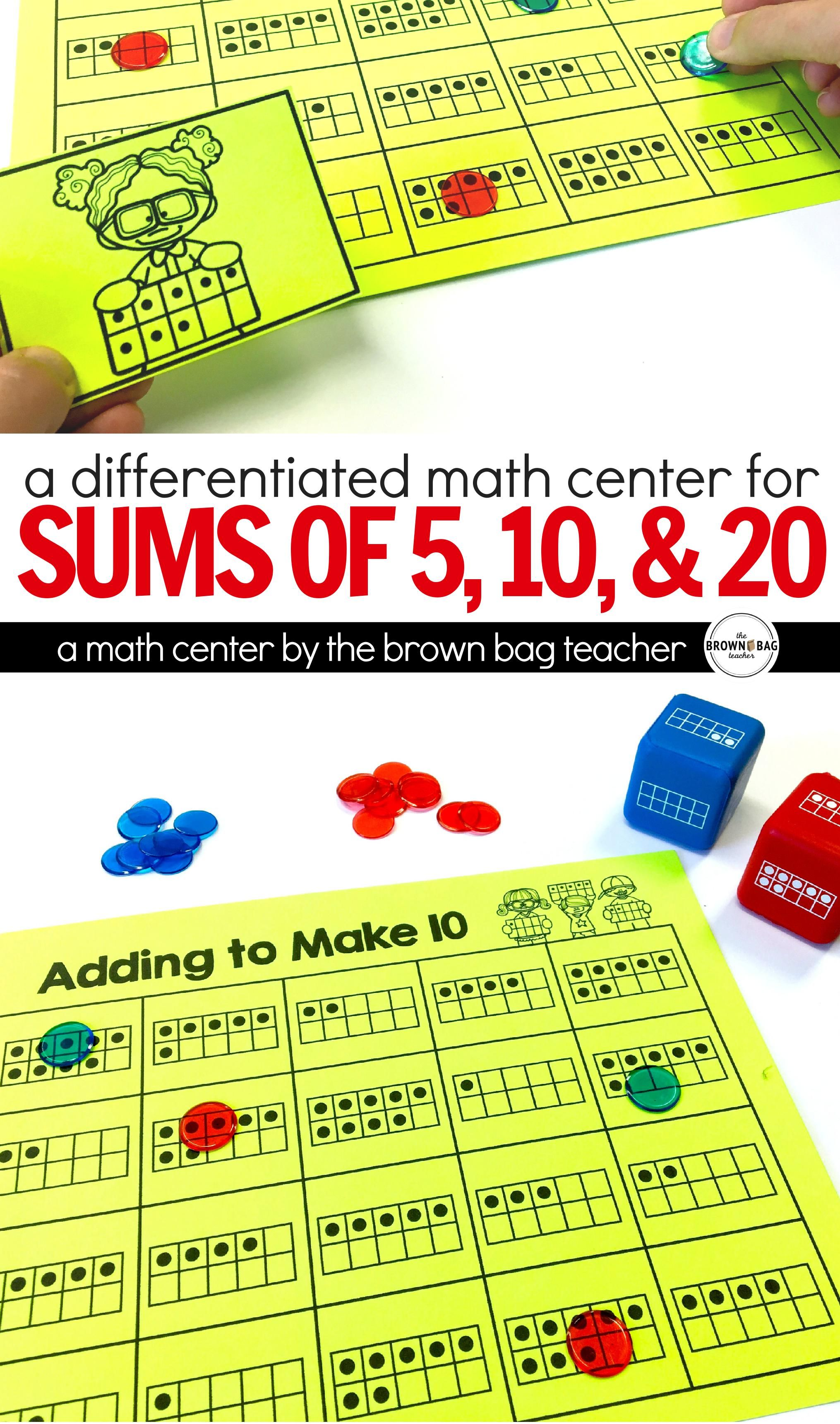 4 In The Row Is A Simple Beginning Of The Year Math Center Perfect For Working On Sums To 5 10