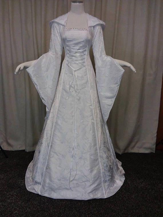736142e8b Handfasting vestido medieval vestido blanco de plata de