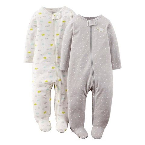 025d29c53 Just One You™ Made By Carter s® Newborn 2-Pack Footed Sleeper - Gray ...