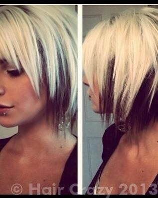 Short layered two tone hair, blonde on top brown under