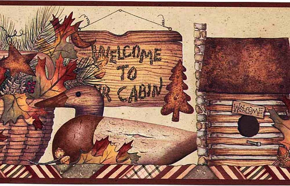 Country Cabin Shelf Sign Welcome Wallpaper Border Tc48033 Wallpaper Border Country Cabin Wallpaper