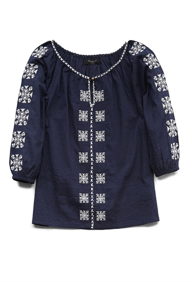 Embroidered Peasant Top (Kids) | FOREVER21 girls - 2000071820