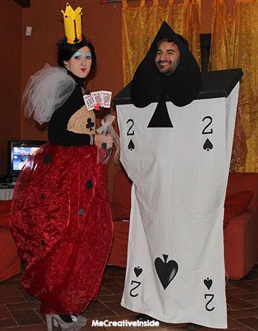 diy costume carnevale di coppia regina di cuori carte due di picche fai fa te alice nel paese delle meraviglie