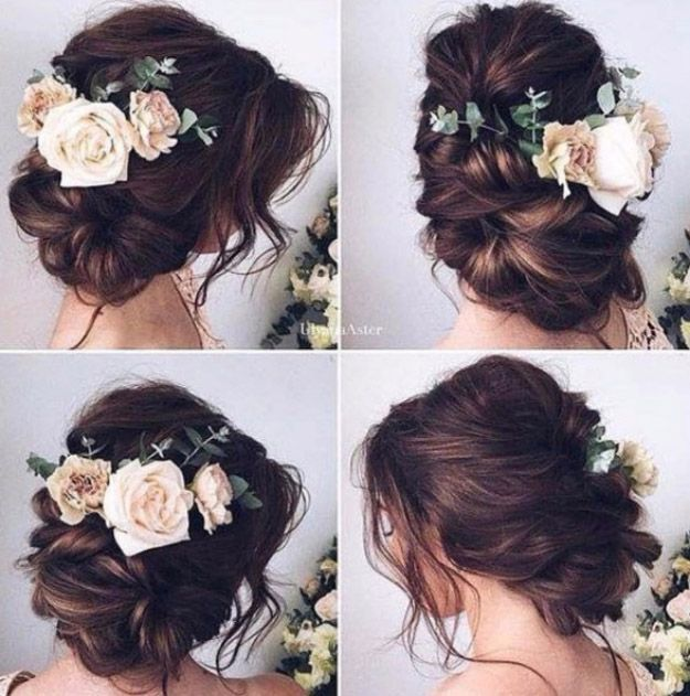Best Hairstyles For Brides Elegant Messy Bun Updo Amazing Hair Styles And Looks For Hal Wedding Hair And Makeup Wedding Hairstyles Trendy Wedding Hairstyles