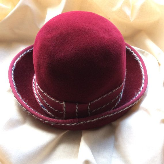Vintage 70s ladies felt hat with petersham and wool by coolclobber