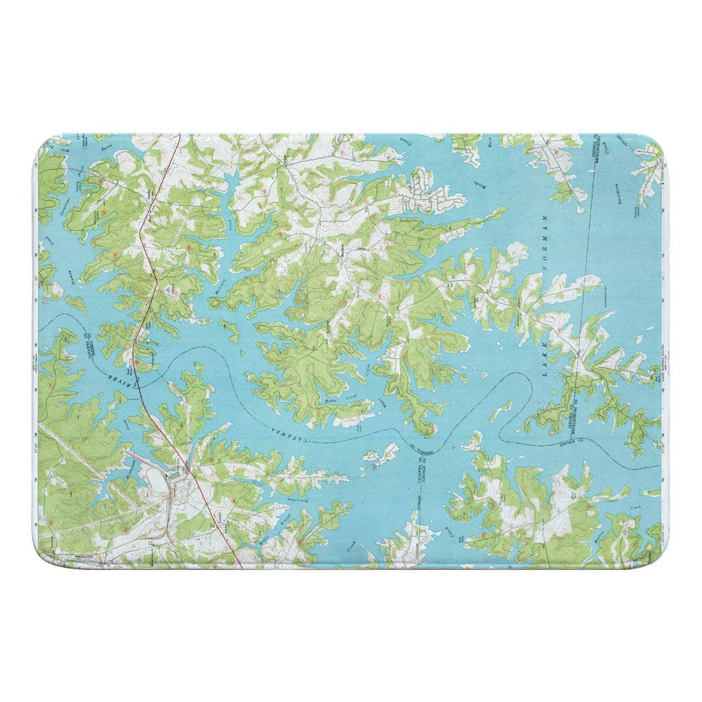 NC Lake Norman North NC 1970 Topo Map Memory Foam Bath Mat in