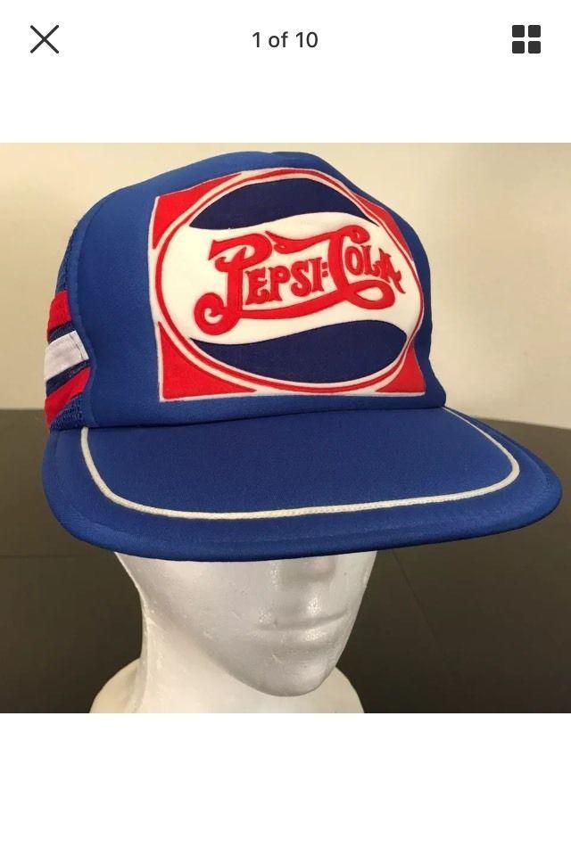 7913d16a Vintage Pepsi Cola Logo 80's Rare SnapBack Mesh Truckers Foam Cap Hat # Trucker