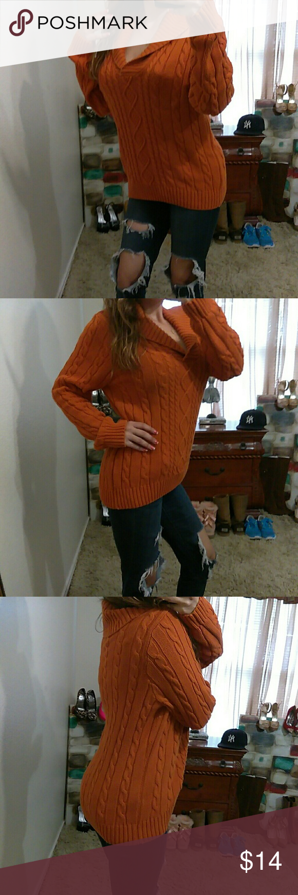 "Orange Cable Knit L VNeck Sweater Excellent condition- 100% Cotton- bust: 24"" (relax) length: 27"" (shoulder to bottom hem)** model is 5""2, 115 lbs & 34D** Jeanne Pierre Sweaters V-Necks"