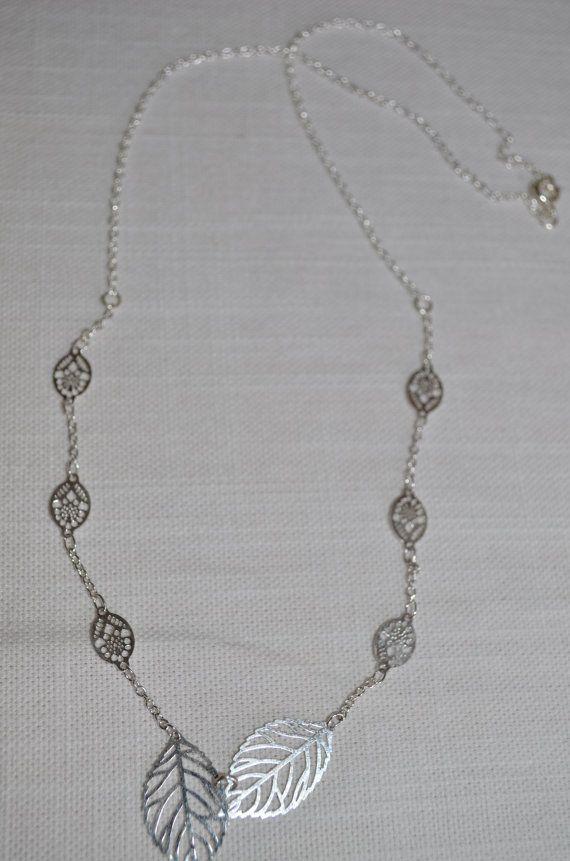 Simple & Elegant silver leaf necklace