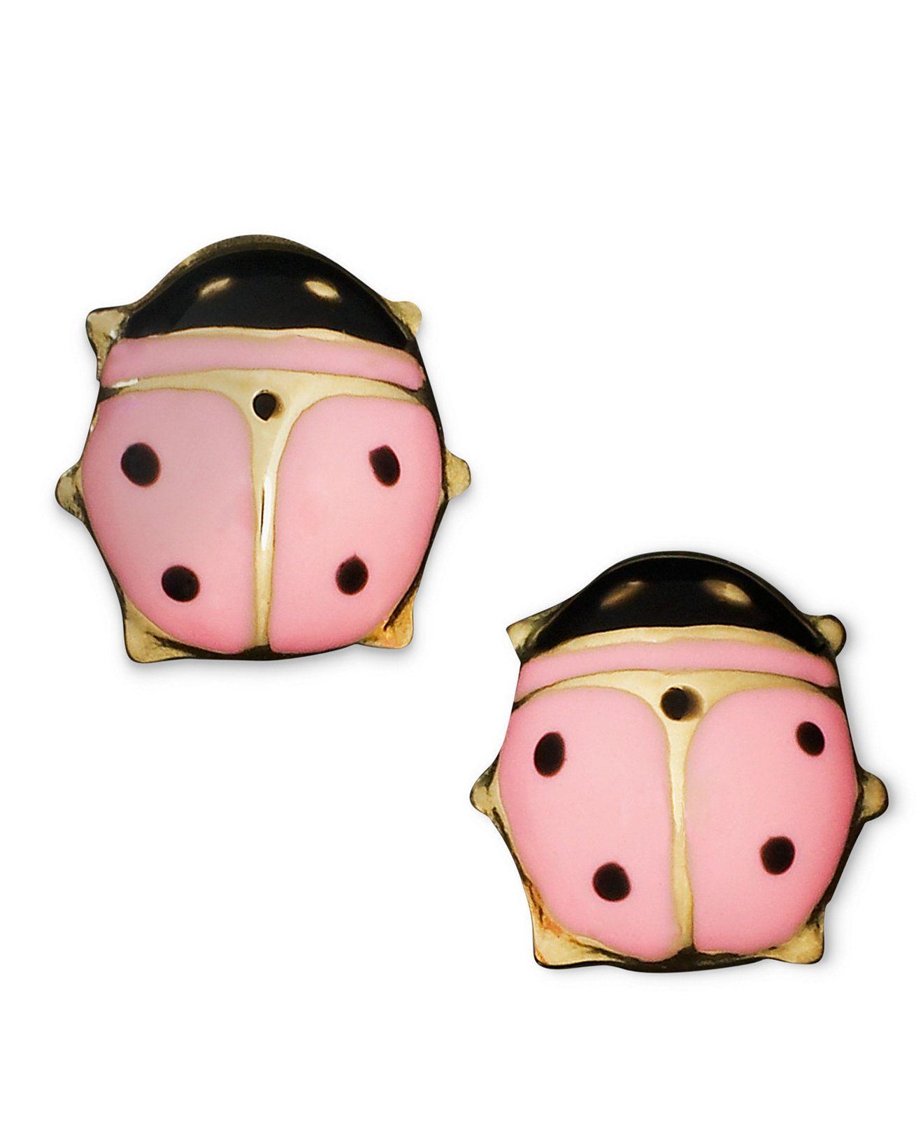 Children's 14k Gold Earrings, Pink Ladybug Studs