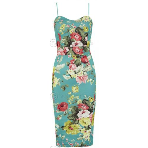 New-Womens-Ladies-Floral-Tropical-Rose-Print-Cami-Slit-Back-Midi ...