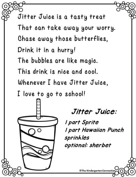 Jitter Juice Recipe Preschool First Day Kindergarten First Day