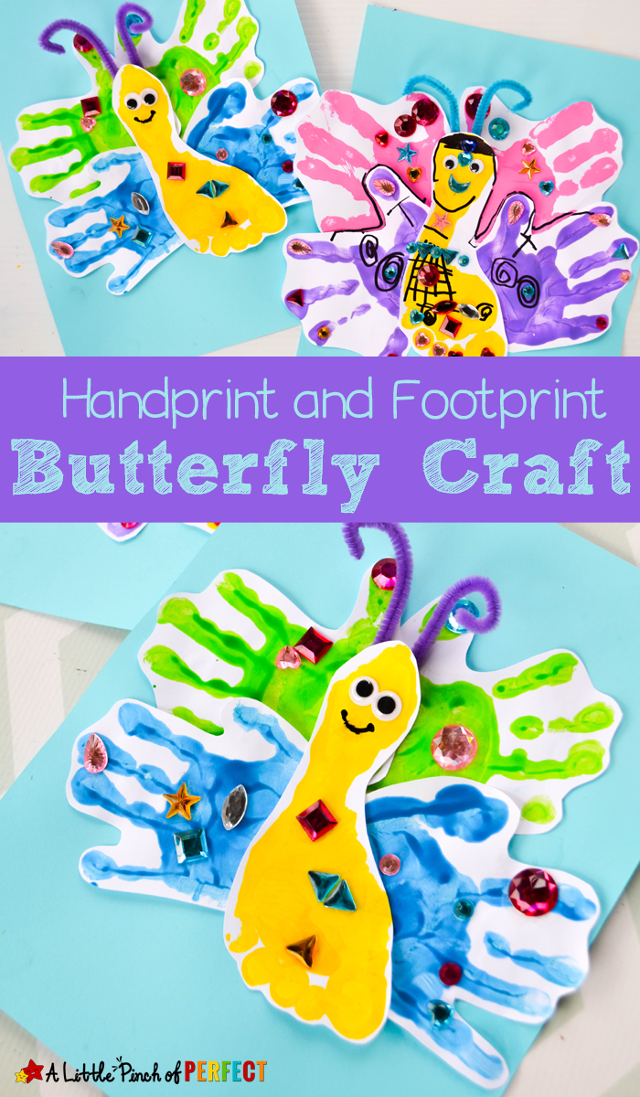 Adorable Handprint And Footprint Butterfly Craft For Kids Butterfly Crafts Preschool Toddler Painting Butterfly Crafts