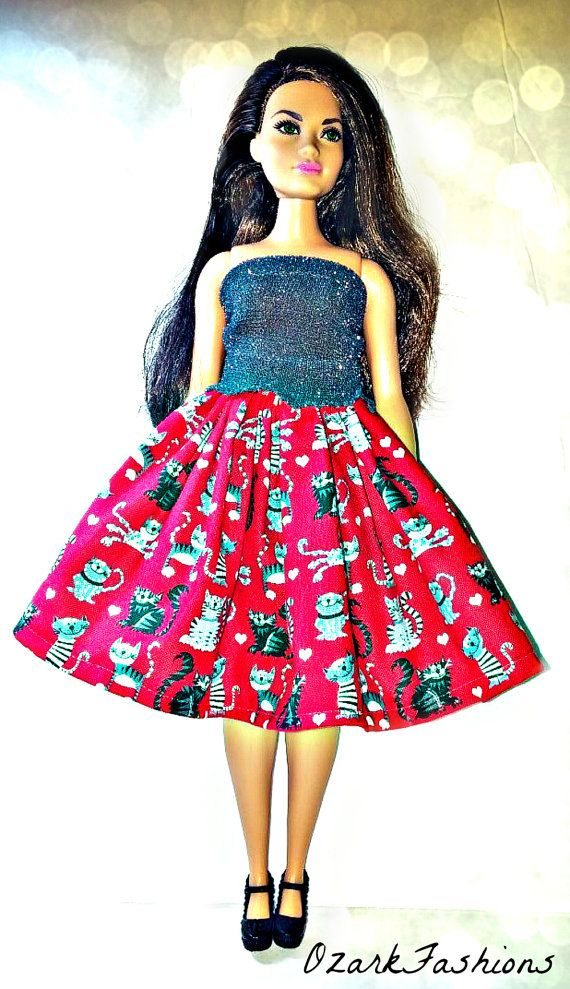 Curvy Barbie Clothes  Cat Skirt & Top for Curvy by OzarkFashions