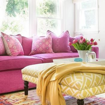 Hot Pink Sofa With Yellow Trellis Ottoman