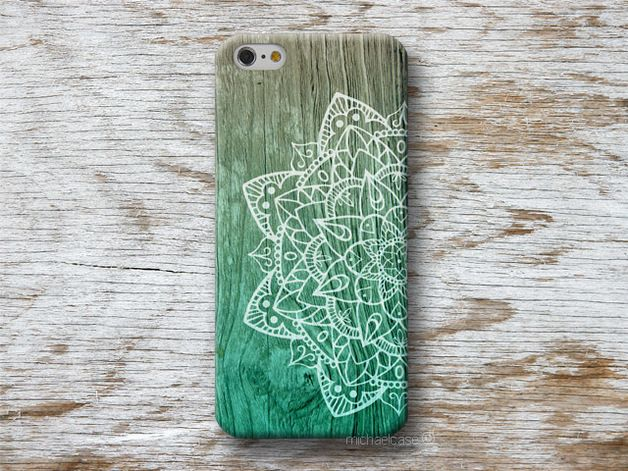 Mandala Mint Holz Textur iPhone Hülle Samsung Sony