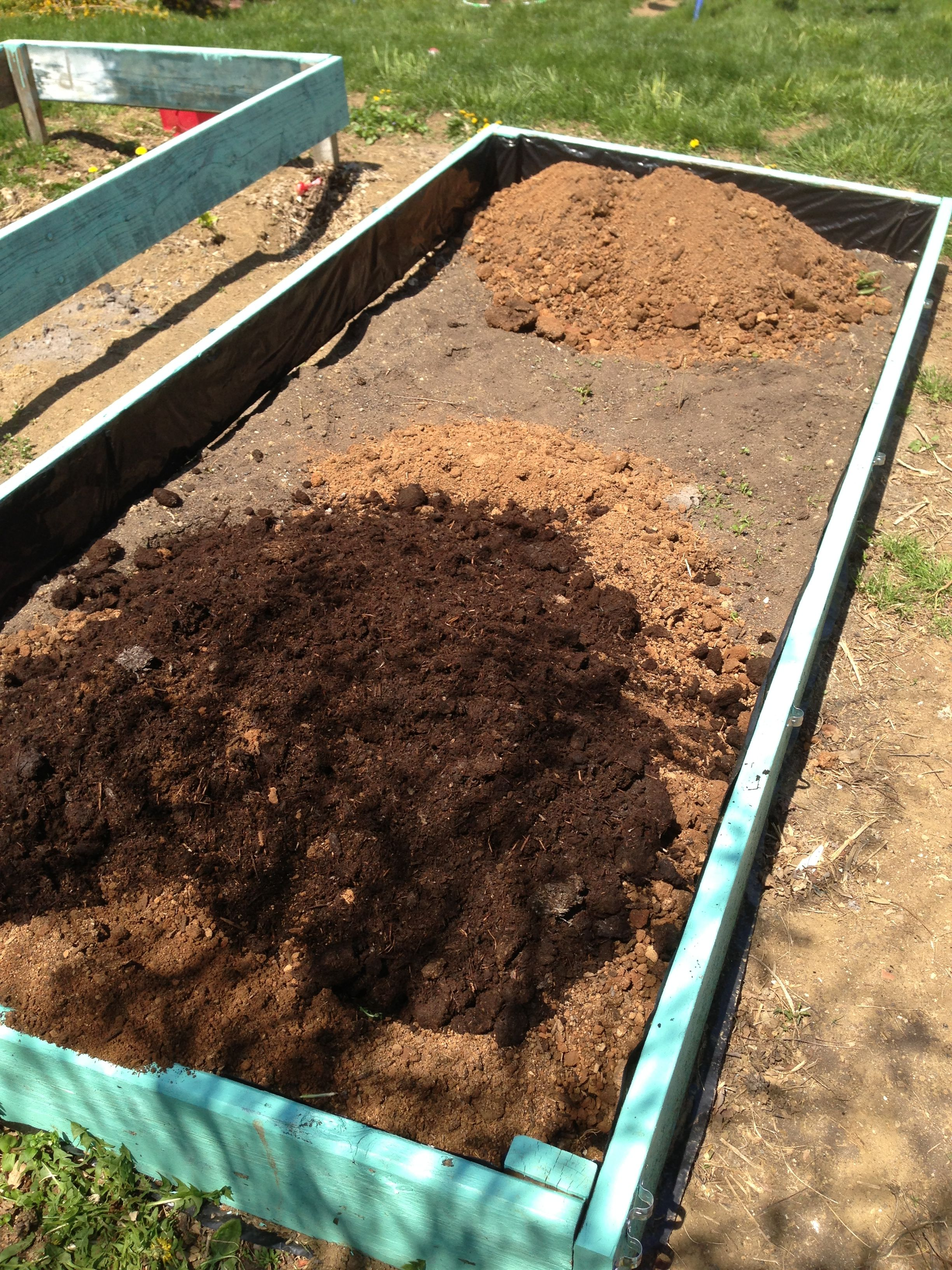 Finally getting dirt for raised bed   Raised bed square foot garden ...