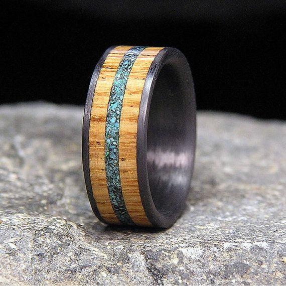 Jack Daniels Wood Carbon Fiber Wedding Band or by HolzRingShop Rob