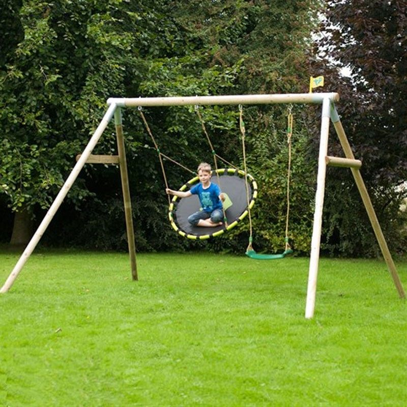 tp knightswood triple wooden swing set with nest swing and deluxe swing seat - Diy Swing Frame