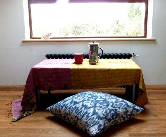 Blue Ikat Floor Pillow 24 X 24 Large Floor Cushion Kantha Floor Pillow Large Floor Cushions Floor Pillows Floor Cushions