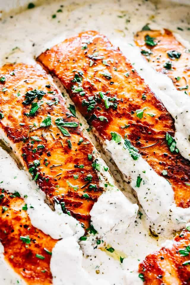 Pan Seared Salmon with Lemon Garlic Cream Sauce #searedsalmonrecipes