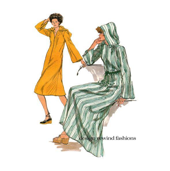 70s VOGUE CAFTAN PATTERN Hooded Caftan Boho Hoodie Dress Hippie ...