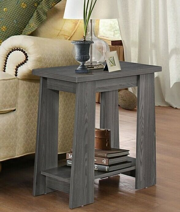 Falan Collection Dark Gray Finish Wood Chair Side End Table End Table Measures 12 Quot X 24 Quot X 22 Quot H S Grey Side Table Furniture Sofa End Tables
